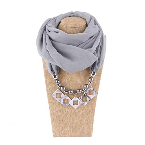 Womens Scarf Resin Anhänger Ring bib Weisen Frühling and Herbst and Winter Fashion Bib Weihnachten, Die schillerndsten Dekorationen in der Party,LightGray (Bib Fashion Halskette)
