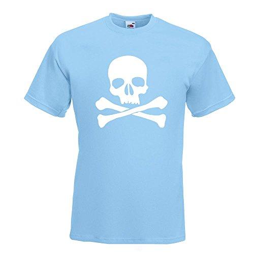 KIWISTAR - Totenkopf - Todessymbol - Piratenzeichen T-Shirt in 15 verschiedenen Farben - Herren Funshirt bedruckt Design Sprüche Spruch Motive Oberteil Baumwolle Print Größe S M L XL XXL Himmelblau