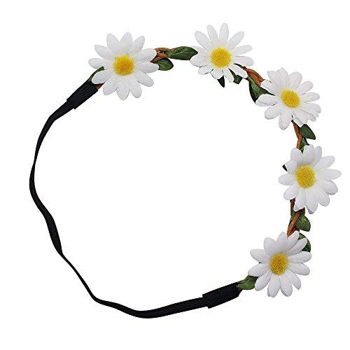 Homgaty élégante Femme Bandeau Blanc floral de bohème Daisy Fleur Bandeau élastique
