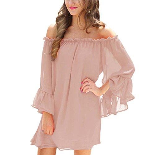 Damen Kleid ,LMMVP Frauen Aus Schulter Feste Langarm Flared Ärmel Chiffon Mini Kleid (L, Pink) (Kleid Wrap Ärmel Cap)