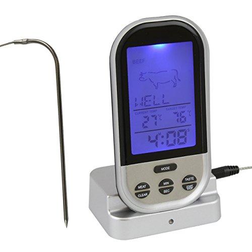 Digital Funk Backofen / Ofen / Grill / Braten - Thermometer mit Sender . Edelstahl Fühler Temperaturbeständig bis 250 °C . Gartemperatur , Alarm und Timer Funktion