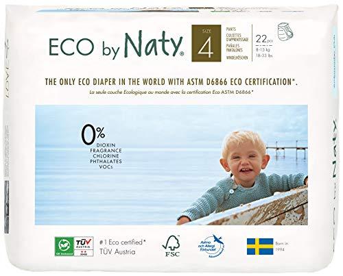 Couches-culottes Eco by Naty, Taille 4, 22 couches, 8-15 kg, Couches-culottes écologiques Premium à base de végétaux sans produits chimiques nocifs