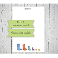 Personalised family wellington boot notepad A5 (60 identical leaves) gift