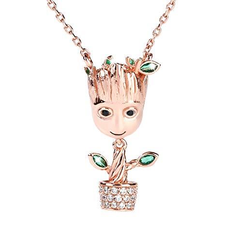 Jeulia Damen-Kette 925 Sterlingsilber I am Groot Baum Mann Anhänger Halskette Halloween Schmuck Geschenk für Damen Herren