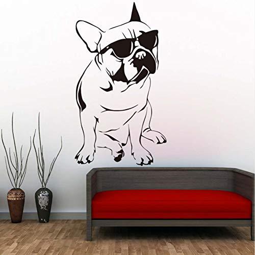 RQGPX Wandaufkleber Hübsche Französisch Bulldog Mit Sonnenbrille Papier Junge Vinyl Tier Blume Kind Wohnkultur 58 * 104 cm