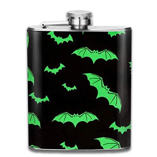 ner for Drinking Liquor, Green Bats Hip Flask for Liquor Stainless Steel Bottle Alcohol 7oz ()