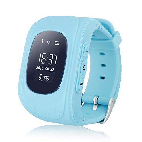 Excelvan Q50 - Smartwatch Reloj Infantil Pulsera Inteligente Localizador (GPS, LBS, SOS Llamada SIM Para Android IOS) Azul