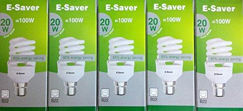 5 Stück, E-Saver 20 W = 100 W, kühles Weiß, 4200 K, Vollspiral, Kompakt-Leuchtstofflampe, Bajonettsockel, BC, B22, B22d, 1150 Lumen, T2, 80% -85% Energiesparenden Birne, kein Flackern, 10.000 Stunden Lebensdauer -