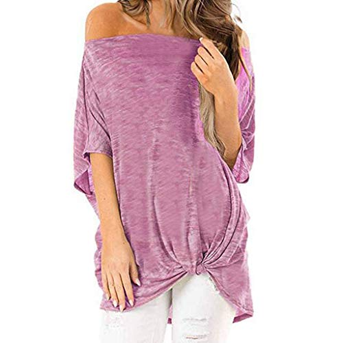 Yvelands Damen Mode T-Shirt Damen V-Ausschnitt Kurzarm Pure Color Casual Tops ()