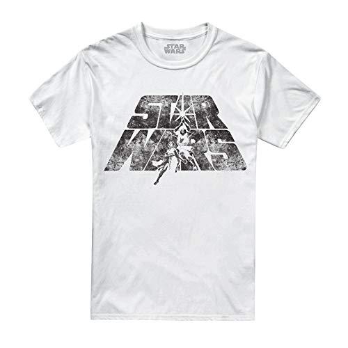 Star Wars Herren T-Shirt Retro Logo, Weiß White, Large