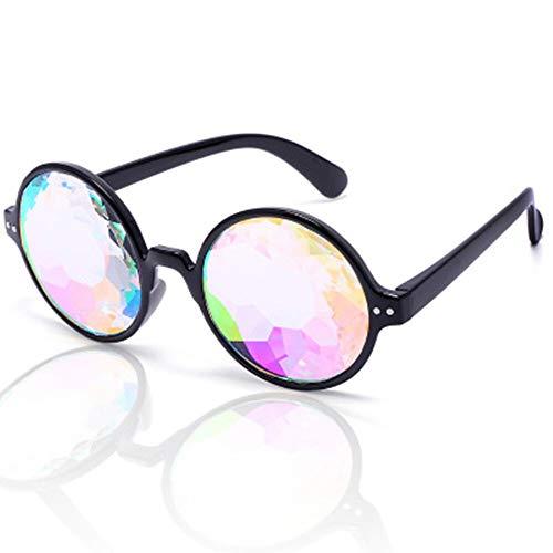 1 stücke Förderung Kaleidoskop Gläser Fabrik Kristalllinse Kaleidoskop Sonnenbrille Party Gläser, Rave 3D Gläser (Color : Black Color)