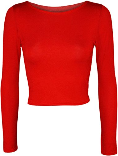 Islander Fashions Womens uni et imprim� � manches longues Crop Top Ladies Crew Neck Fancy Shirt Top S / M, M / L red