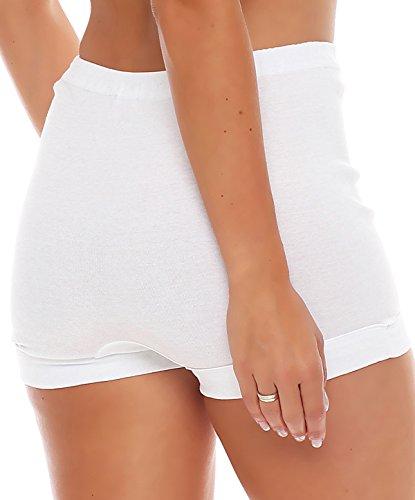 3er Pack Damen Slip mit Bein oder ohne Bein, weiß oder mit Blumen Muster (Schlüpfer, Unterhose) 438-444 (40/42, 439) - 3
