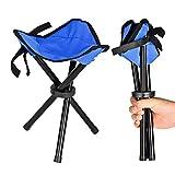 BIO BO Angelhocker Dreibein,30cm Hoch,klappbar Leicht und Stabil Camping hocker,100Kg Tragkraft (Blau)