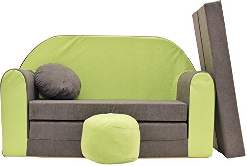 PRO COSMO A1 - Sofá Cama Infantil con puf, reposapiés, Tela Gris y Verde, 168 x 98 x 60 cm