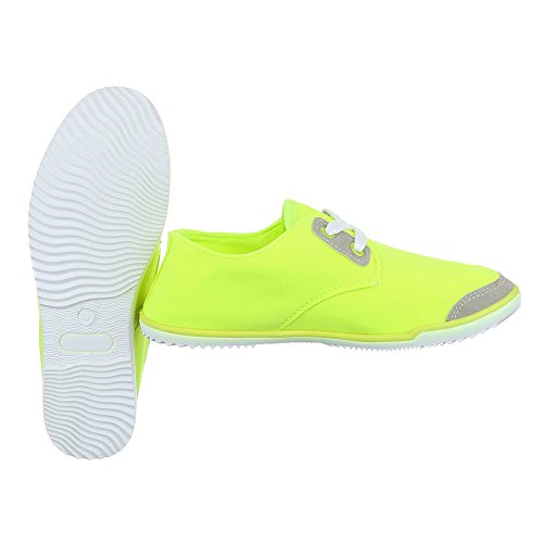Low-Top Sneaker Damenschuhe Low-Top Schnürer Schnürsenkel Ital-Design Freizeitschuhe Neongelb