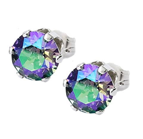 6mm Purple, Green Paradise Shine Crystal Stud Earrings Made With Sterling Silver and Swarovski Crystals by Black