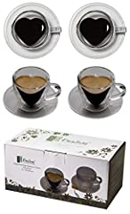 Idea Regalo - Tquiero 2 Tazze da caffè Bicolore a Forma di Cuore 2X 70ml con Manico e sottobicchiere, Moderne, Eleganti e di Classe per Il Tuo Espresso Molto Speciale - Anche Perfetto Come Regalo, di Feelino (R)