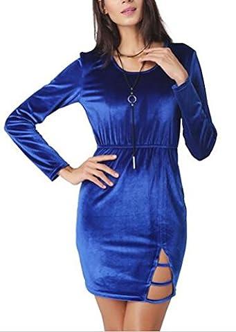 SunIfSnow Women Sexy Blue Velvet Split Hip Round Neck Sheath Slim Design Winter Dress XXL