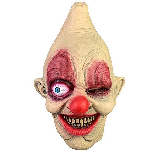 3D Halloween Effekt Gesichtsmaske, Kopf Und Hals Aus Latex, Einäugiger Clown Zombie Horror Headpiece Headgear Gruselige Requisiten Kostüm - Weiblichen Zombie Clown Kostüm