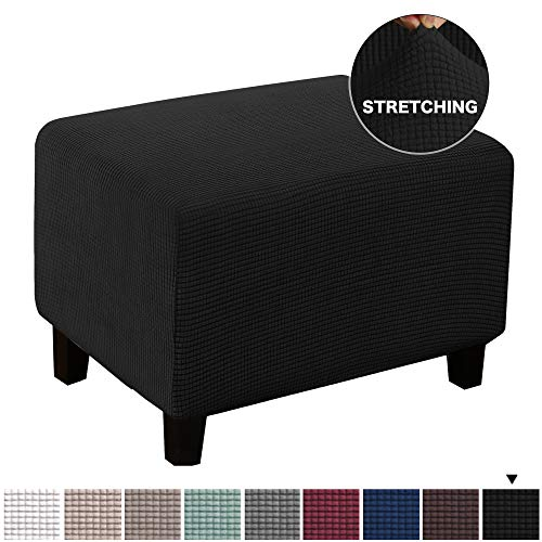 BellaHills Stretch Ottoman Schonbezug Stretch Storage Ottoman Schonbezug Protector Spandex Elastic Rectangle Footstool Sofa Schonbezug für Fußstütze Hocker Möbel im Wohnzimmer (Ottoman, Schwarz)