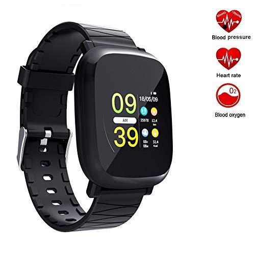 Yimiky Bluetooth-Smart-Uhr, Activity-Sportuhr mit Pulsmesser Schritt Kalorien-Entfernungsmesser Schlaf-Monitor IP67 Wasserdicht Anruf SMS SNS Remind Kompatibel mit iPhone Samsung Huawei (Schwarz)