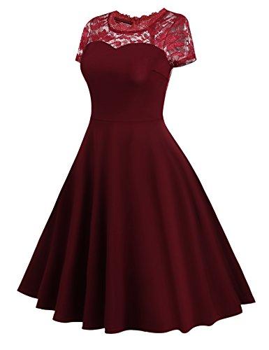 Meaneor Damen Spitze Vintage Kleid Rockabilly Tüll Partykleid Cocktailkleid mit Kurzarm (DE STOCK) Weinrot