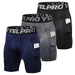 Godyluck 3er Pack Men's Compression Shorts Active Workout Underwear with Pocket