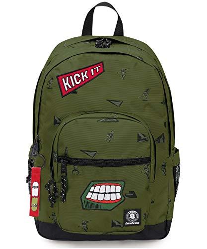Zaino invicta - wider pack - verde militare - tasca porta pc - 38 lt - scuola e tempo libero