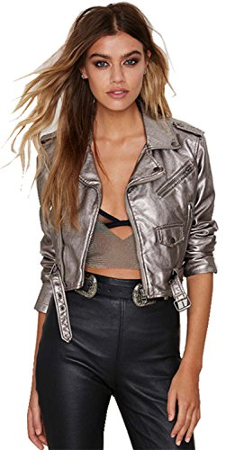 Glänzend Metallische Silber Grau Faux Leather Bomberjacke Kurz