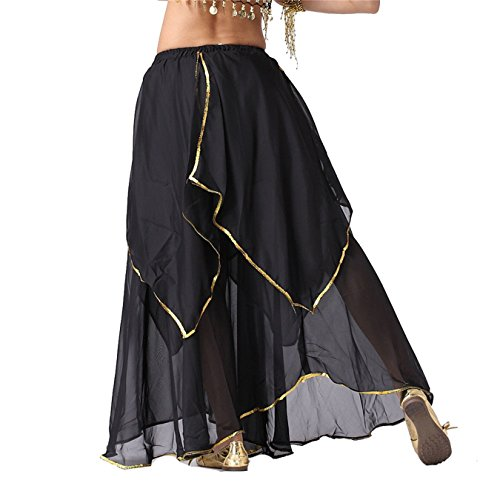Damen Tanzkleidung r Long Bauchtanz Rock Tribal Multi-layered Rock Tanzen Kost¨¹me Black