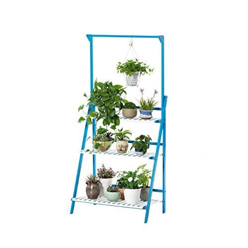 MIAOLIDP Wohnzimmer hängen mehrschichtige Blume Stehen Massivholzboden Balkon Fleisch Flöte Korb Blumentopf Rahmen einfach Blumenständer (Color : Blue) -