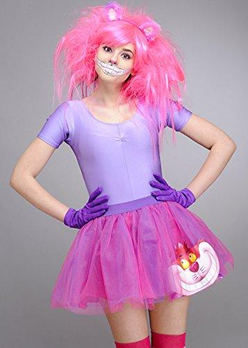 Damen Pink Die Cheshire Katze Tutu Zubehör Set S (UK 8-10) (Cheshire Katze Ohren)