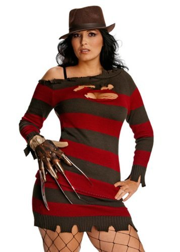 Krueger Miss Kostüm - Nightmare on Elm Street Miss Freddy Krueger Damen Kostüm Größe L