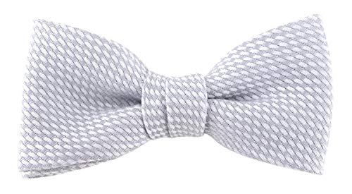 TigerTie Kleinkinder Baby Fliege Pique in hellgrau-weiß gemustert, 100% Baumwolle, vorgebundene Schleife mit Sichtband - 20 bis 32 cm Halsumfang verstellbar + Aufbewahrungsbox (Fliege Weiße Kleinkind)