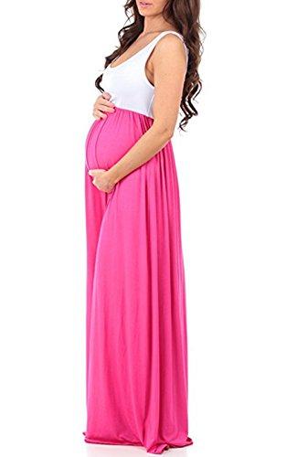 LANOMI Damen Umstandskleid Mutterschaft Umstandsmode Lange Maxikleid Sommerkleid Schwangerschafts Kleid Ärmellos Stillkleid (Rose) - 2