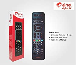 Original Airtel Digital TV DVR Remote;Universal Remote, can be configured with your TV as well;Instruction manual for configuring the remote with TV;2 Batteries included in the box