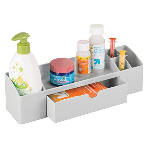 mDesign boîte de rangement en plastique pour la table à langer en gris – grand organiseur pour la table à langer pour cotons-tiges, lotions et thermomètres – avec 6 compartiments, idéal pour la salle de bains