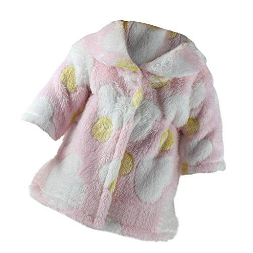 Zoll Muster Puppe 18 (MagiDeal Pink Plüsch Pullover Mantel Kleidung mit gelben Punkt und weißen Herz Muster für 18 Zoll Mädchen Puppe)