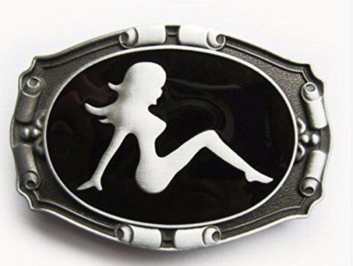 Napolo Fibbia per cintura unique vintage uomo accessori spogliarellista donna seduta nero argento