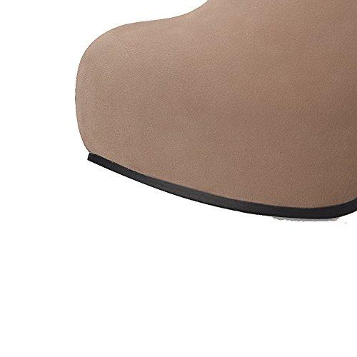 VogueZone009 Donna Bassa Altezza Chiodato Cerniera Tacco Alto Stivali con Cappio Albicocca