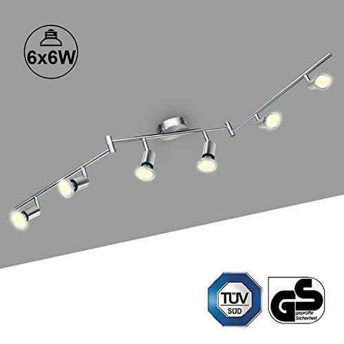 LED Deckenlampe 6 Spots Schwenkbar Kimjo, LED Deckenstrahler inkl. 6 x 6W Warmweiß 550LM 82Ra 230V GU10 Leuchtmittel Metall Matt Nickel Deckenleuchte Küche -
