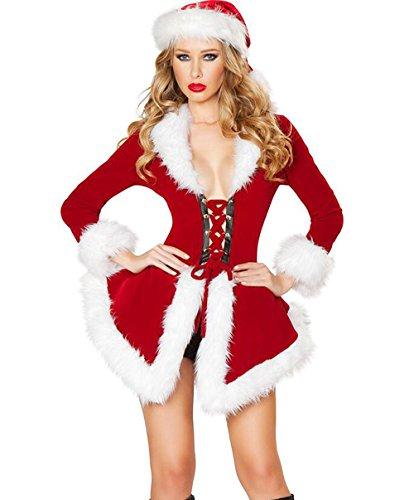 Weihnacht Kostüm Set Mädchen COSPALY Anzug,CHUANHAO Weihnachtsmann Damen Kostüm Miss Santa für die Weihnachtsfeier oder Party (Samt Kostüme Miss Santa)