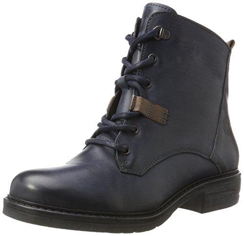 Be Natural Damen 25202 Combat Boots Blau (navy)