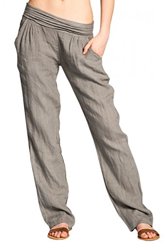 CASPAR KHS020 Damen Leinen Hose, Farbe:Taupe;Größe:40 L UK12 US10