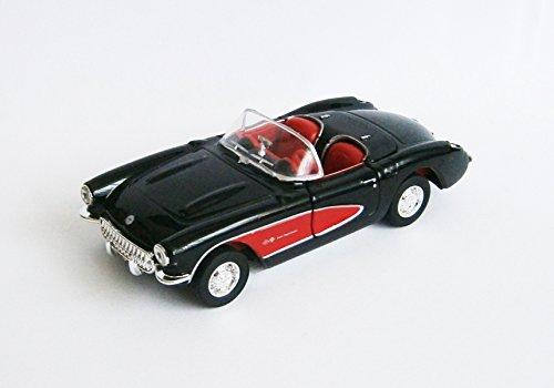1957 Sitz (CHEVROLET 1957 Corvette Modellauto Metall 4 Farben Modell Auto Spielzeugauto 76 (Schwarz offen))