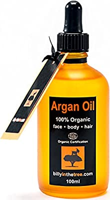 Pure Argan Oil 100ml. 100% Pure and EcoCert Certified Organic. For Face, Body, Hair and Nails. Cold-Pressed, Premium Quality, Moroccan Oil. from Billy in the Tree Ltd