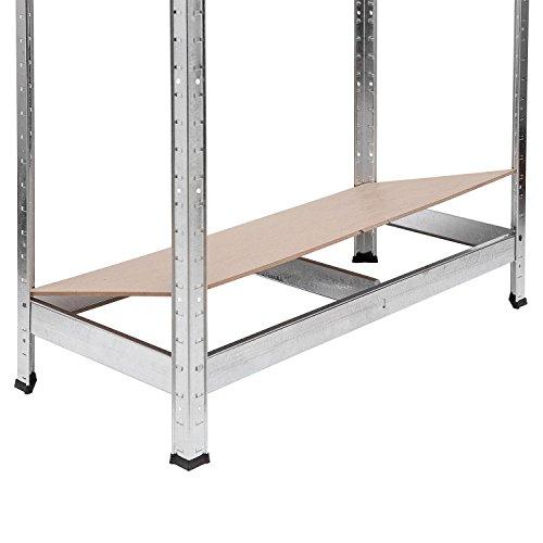 Lagerregal verzinkt belastbar bis 875 kg – Maße: 180 x 90 x 40 cm Regal Steckregal Kellerregal Werkstattregal Schwerlastregal - 7
