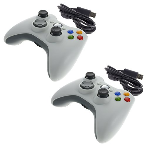 2x Smartfox USB Kabel Controller Gamepad Joypad Joystick für Microsoft Xbox 360 Konsole und Windows PC in weiß