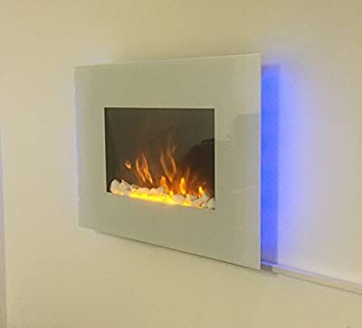 TruFlame 2018 WHITE GLASS 7 COLOUR CHANGING LED WALL MOUNTED ELECTRIC FIRE
